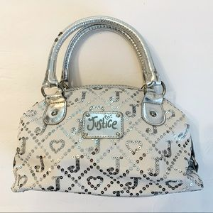 JUSTICE Girl's Silver & White Satchel Purse